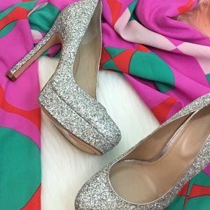 Silver Sparkle Glitter Statement  Heels